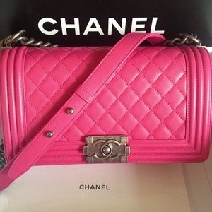 Authentic Chanel boy old medium in hot pink